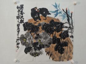 保真书画,当代大写意花鸟画名家田博庵佳作《异香天然》一幅,尺寸69×67.5cm