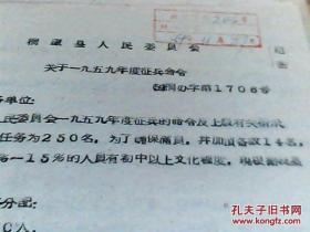 桐庐县人民委员会关于一九五九年度征兵命令