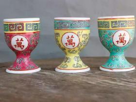 70年代文革厂货粉彩万寿无疆茶杯一套