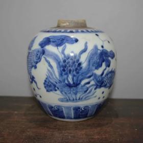民国青花鱼草纹罐
