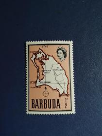 外国邮票  巴布达邮票 1968年 伊丽莎白.地图 (无邮戳新票票)