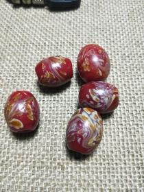 民国老琉璃,红色凤尾琉璃珠,配珠一对价,尺寸详情看图。编号:411,五颗一起拍优惠。