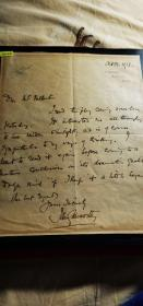 1932年诺贝尔文学奖得主 英国小说家、剧作家。20世纪初期英国现实主义文学的代表作家 约翰·高尔斯华绥(John Galsworthy 1867-1933)亲笔信一页 带签名和照片 珍贵【暑期特价,限时限量】