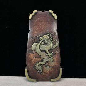 旧藏紫袍玉带石:文房七弦琴砚