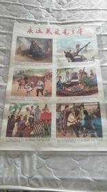 文革对开(2开)两张宣传画:永远热爱毛主席   范曾.边宝华作