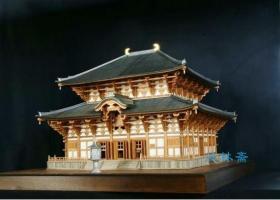 1:180屋久杉限定版 奈良东大寺大佛殿 日本古建筑木模型拼装套材 附铸铜卢舍那佛