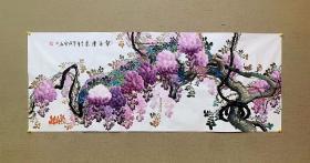 中国国画家协会会员黄艺老师小六尺尺【紫气东来】180*70厘米作品编号:fm107