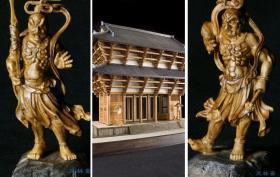东大寺南大门 1:100屋久杉神木版 含阿形吽形仁王像 日本国宝古建筑 实木手工模型 拼装套材