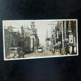 晚清民国时期上海南京路繁花街景银盐老照片一张