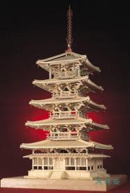 法隆寺五重塔 1:40全构造 世界最古老木塔的彻底解剖 日本人气第一古建筑 小林工艺纯实木模型 拼装套件
