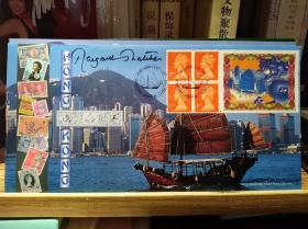 """""""铁娘子""""撒切尔夫人亲笔签名 1898-1997香港百年 回归中国纪念封(限量260份,编号160,邮戳为1997年2月12日 伦敦华埠 封面为香港维多利亚海湾风景)"""