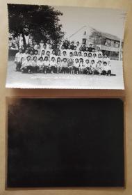 1978成都市第六中学七八级毕业合影老照片,成都六中毕业照附原底片,2件合售