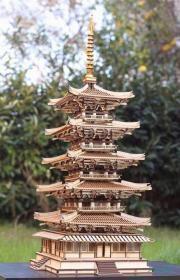 法隆寺五重塔 1:50构造版 风林斋自主研发 中国古建筑实木模型 世界文化遗产 日本最古佛塔 DIY拼装套件 3D打印与激光切割