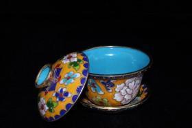 回流旧藏景泰蓝珐琅彩描金花开富贵茶具一套
