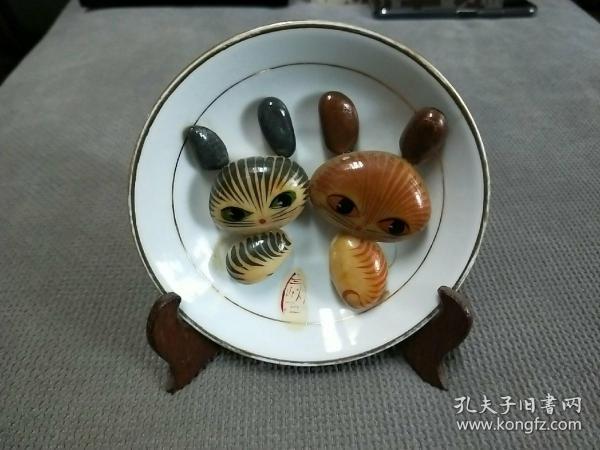60年代中国景德镇制品,取材三峡石上釉手绘,小猫咪摆件!