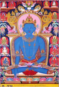 尼泊尔喇嘛力作《不动佛》。唐卡手绘布本。采用真金描绘。画工细腻,开脸殊胜,是一副难得一见的好唐卡作品。作品尺幅:75x52cm左右。