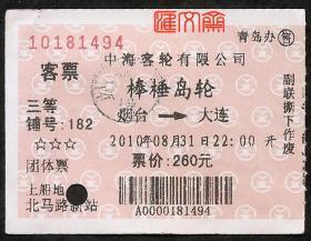 2010.8.31【中海客轮有限公司-棒棰岛轮】烟台-大连船票三等铺,原价260元,背旅客须知,