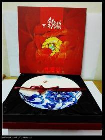 洛阳三彩艺 陶瓷盘摆件(吉祥如意)礼盒(30X30公分)【包中通快递】