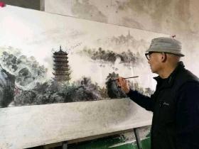 中国著名山水画家庞干先老师古塔保证真迹性价比超高仅需329小六尺180*70厘米