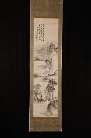 1912年 佚名 山水画 《江月秋色》 长江秋色渺无边,只见烟波漫半天。栖雁一声明月夜,荻花枫叶送渔船。 日本回流字画 日本回流书画