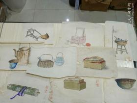 民国手绘  9张合售  画工一流