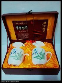 醴窑国瓷:再造毛瓷带盖茶杯礼盒一套(限量珍藏品)包中通快递