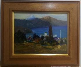 日本油画 日本昭和时期西洋画家高桥傅和1976年作品 箱根晚秋风景油画 原裱带框。 尺寸:32X41,52X61。