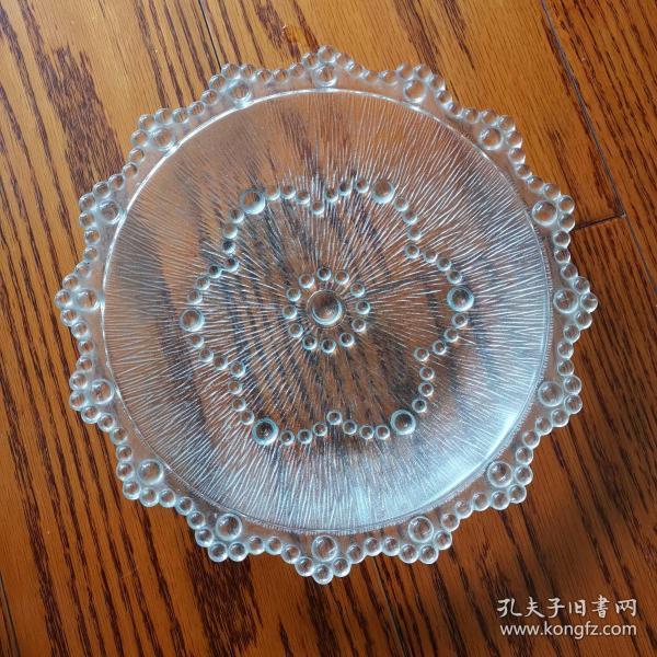 旧藏老玻璃果盘一只