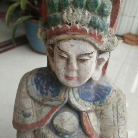 收到纯手刻晚清或民国精美的老木雕,高约34厘米刻的多么精美啊,收藏价值,