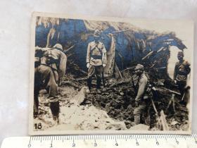 民国抗战时期侵华日军轰炸后的弹坑原版老照片
