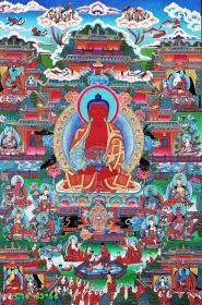尼泊尔极品唐卡,CHAMPA喇嘛力作《阿弥陀佛极乐世界图》。唐卡手绘布本。采用24K真金描线,天蓝色打底,天然矿石颜料着色晕染,画工细腻,开脸殊胜,是一副难得一见的好唐卡作品。作品尺幅:83*56左右。佛教指阿弥陀佛居住的地方。后泛指幸福安乐的地方。