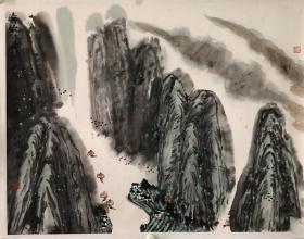 (双钻老店优惠,1幅9折,2幅8.5折,3幅8折)山东 王文芳 山水,省诗词学会会长收藏作品流出,画面有收藏章,介意慎购。