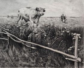 """1885年法国蚀刻铜版画《准备跨越围栏的奔牛》—法国著名动物画家""""Alfred Verwee(1838-1895)""""作品  版画家:AUGUSTE DANSE  雕刻 法国ARCHES版画专用水印纸 43x30cm"""
