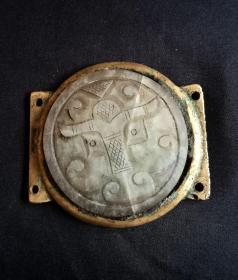 明代:镶嵌白玉牌的老铜牌