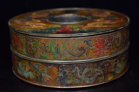 白铜胎漆器朝珠盒,重576克,360