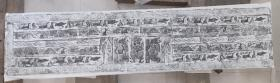 汉代画像砖之杰作拓片,汉代勇士受汉武征召,轺车出行赴边关,伐匈奴,妻在家小酌候夫凯旋图,长148+30cm