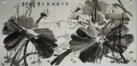 终身保真名家字画,柴欣明,四尺整张荷花,送本人专用信封陕西画家,陕西美术家协会员