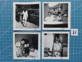{会山书院}11#1940年左右欧洲(女孩和大人留影)老照片原版照片--4张、9*9CM 黑白照片、手账收藏必备