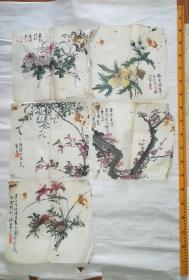 西安大藏家旧藏清末民国四川画家花卉册页5开合售,优价了