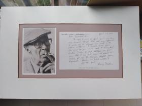 文坛怪杰 亨利·米勒(Henry Miller) 亲笔签名手写 信件一份(附作家肖像)孔网唯一