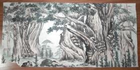 手绘真迹国画:张文柏印款山水画