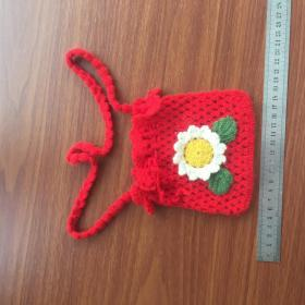 手工编织手袋钱包钱袋向日葵红色钱袋收纳袋利是袋大人小孩精品