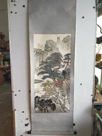 """无款老画  有一很小印章""""黎坚仁"""" 作者不识  立轴原装旧裱 尺寸95x43"""