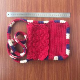 手工编织手袋挂包冷线织红色有拉练钱包挂包手提软斜挎包收纳袋拉链袋精品
