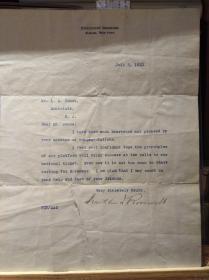富兰克林·德拉诺·罗斯福亲笔签名 打印信件一份(附JSA权威证书)