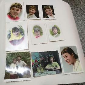 老照片一一美女(彩色)照片9张合售,,1968年一1973年,最大的12X8.5厘米,最小的8X6厘米。85品
