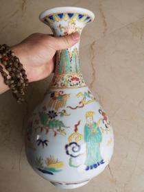 明代早期景泰年制青花釉里红五彩描金人物故事敞口瓶