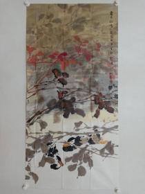 保真书画,鲁迅美术学院,中国同泽书画研究院副秘书长,荆成义先生国画佳作《霜月秋情》一幅