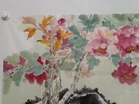 保真书画,鲁迅美术学院,中国同泽书画研究院副秘书长,荆成义先生国画佳作《吉祥春天》一幅