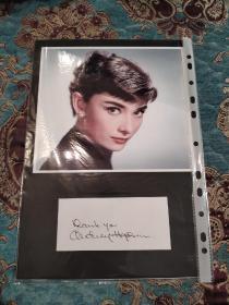 """【签名照】奥黛丽·赫本(1929年—1993)签名题词(Thank you""""谢谢你"""")卡片 配彩色肖像照片"""